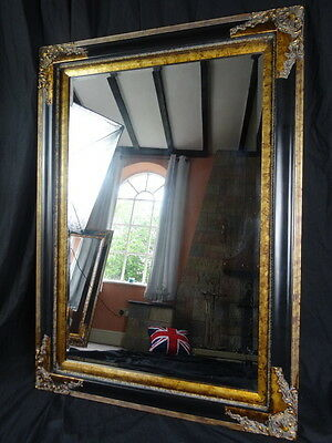 1 Large Antique Ebony French Empire Tortoise Shell Style Pier Glass Wall Mirror