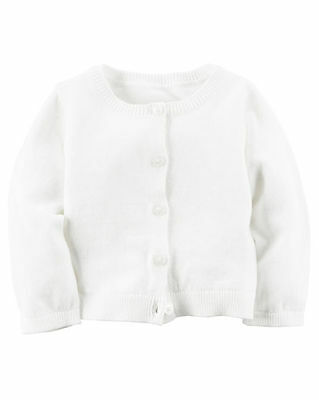 New Carter's White Button Down Cardigan Sweater Top NWT 18m 24m Girls