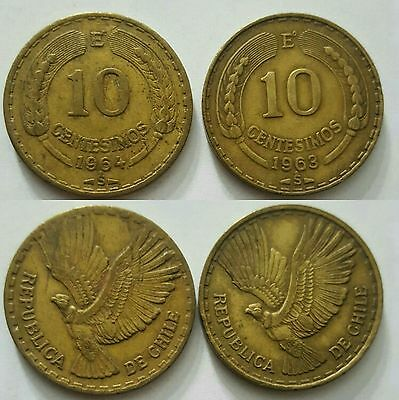 Chile 2 coins set 1963/1964 10 centésimos