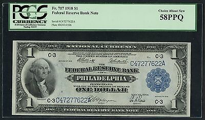 Fr717 $1 1918 Series Frbn Philadelphia, Pa Pcgs 58 Ppq Choice About New Hw2555