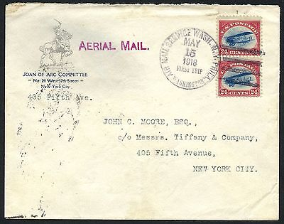 #c3 (2) On First Trip Cover May 15,1918 -- Rare Pair -- Hw2564