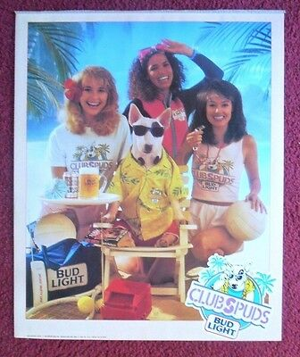 1988 Spuds MacKenzie Budweiser Bud Beer Poster ~ Club Spuds Beach Party Girls