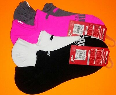 NEW women's PUMA 4-pair NO-SHOW invisible SOCKS pink WHITE black SIZE 9-11