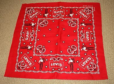 Vintage Levi's Bandana ~ New, Old Stock ~ Never Used! Western ~ Red & White! Nr!