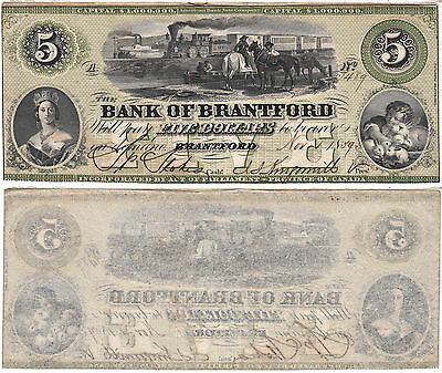 1859 $5 Bank Of Brantford Note Canada Issued Steam Ship & Train AU