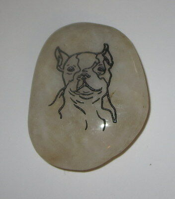 "Boston Terrier Dog Rock Stone Accent New Silver Etching Light 2.25"" High"