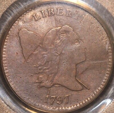 Very Rare And Attractive 1797 Half Cent, 1 Above 1 Var., Pcgs F12, 3-Day Return