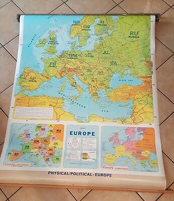 """Europe Pull Down Map Physical-Political-Languages maps 44"""" wide"""