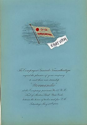 1883 NEW YORK Invitation COMPAGNIE GENERALE TRANSATLANTIQUE steamship NORMANDIE