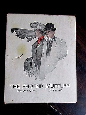 Antique Phoenix Muffler 1908 Box Original Scarf Scarves Clothing Collectible Old