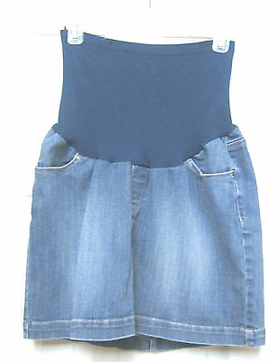 "Cute Maternity Denim Solid Blue Jeans Skirt Size L Straight 44"" hip  Motherhood"