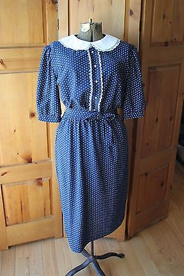 Vintage Dark Blue & White Peter Pan Collar Schoolgirl Dress 1980s Lace
