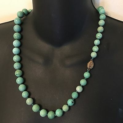 Chinese Natural Turquoise Carved Carving Bead Necklace Silver Knot 23.5""