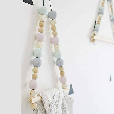 Nordic Style Wooden Balls Clothes Rack Room Wall Hanger Home Decor Wardrobe Tool