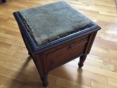 Antique Oak Shoe Shine Stool Box Lift Top, Drawer and Cast Iron Foot Rest (AGUR)
