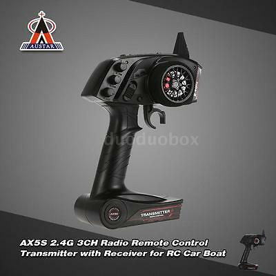 AUSTAR AX5S 2.4G 3CH AFHS Radio Transmitter with Receiver for RC Car Boat P8Q9