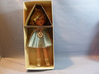 1930's Ideal Composition Shirley Temple Doll, Pin & Box, 13 Inches, Blue Dress