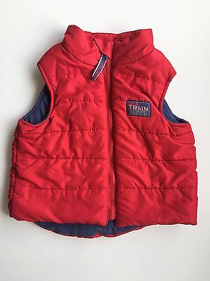 Size 0 Baby Boys Red Puffer Vest 'train Driver'