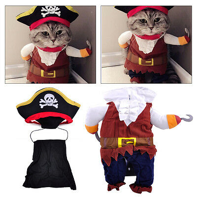 Captain Pirate Cat Clothes Coat with Skull Hat Pet Dog Puppy Kitty Cosplay Fun