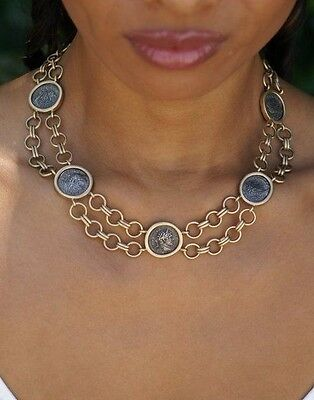 Vintage 14 k yellow gold necklace , with Ancient Roman silver coins