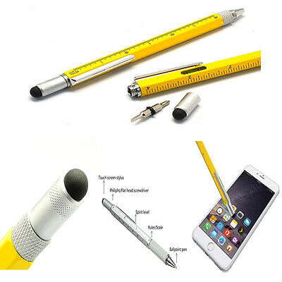 New 6 in 1 Multi Function Pen with Touch Screen Ruler Level Screwdriver Tool