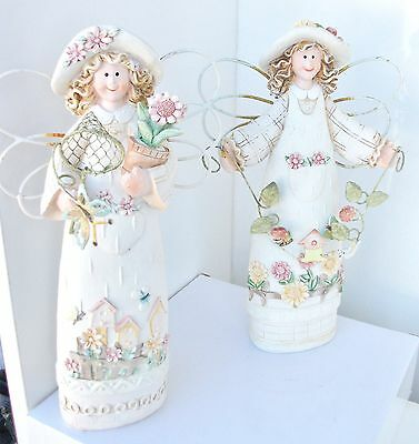 Set of 2 fairy figurine metal wing carved scene on dress Rustic country Look