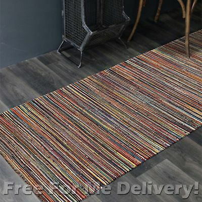 BAILEY WOOL COLOUR STRIPES WOVEN KILIM DHURRIE RUNNER 80x300cm FREE DELIVERY**