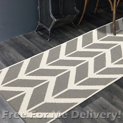 BAILEY WOOL GREY ZIG-ZAG WOVEN KILIM DHURRIE RUNNER 80x300cm **FREE DELIVERY**