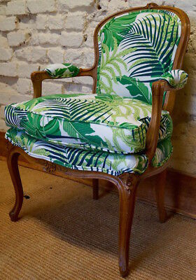 Vintage French Louis XV Bedroom Chair in Sanderson Botanical Print Fabric