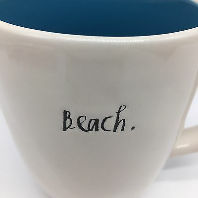 Rae Dunn BEACH Script Coffee Mug Artisan Collection Blue Interior Summer Ocean