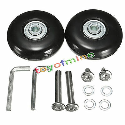 2 pcs Luggage Suitcase Replacement Wheels Axles Wrench Deluxe Repair OD 50mm
