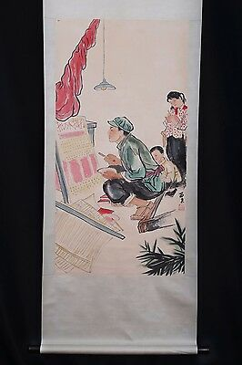 Excellent Old Handwork China Paper Figure Scroll Painting Collection Mark PP484