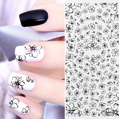 Line Flower Water Decals Black Simple Drawing Manicure Nail Art Transfer Sticker