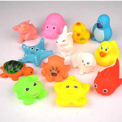 13 pcs Animals Toys Float New Sound Bath Rubber Play Baby Soft Kids Sqeeze