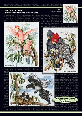 Australian Birds - 'Combo' Cross Stitch Chart from Country Threads. 3 Designs