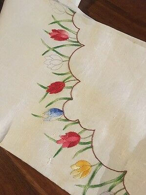 Vintage Traced Linen Tulip Cross Stitch Tablecloth to Complete Embroidery