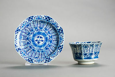 Nice Quality Set!! 19c Kangxi Revival B/W FLoral Bowl Tea Cup Qing Marked