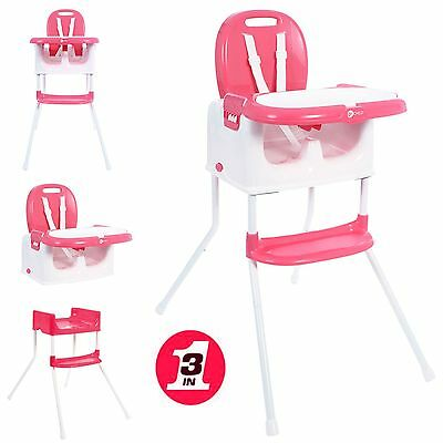 New My Child Graze 3 In 1 Reclining Baby Highchair Toddler Booster Seat Pink