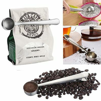 1-cup Ground Coffee Measuring Spoon Scoop Stainless Steel With Bag Sealing Clip