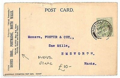 AK118 1907 GB Portmadoc North Wales Slate Hampshire Postcard {samwells-covers}