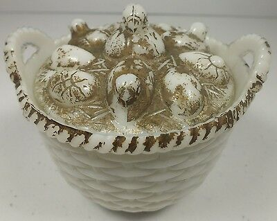 Vintage Westmoreland Glass Specialty Co. Chicks Emerging From Eggs on Basket