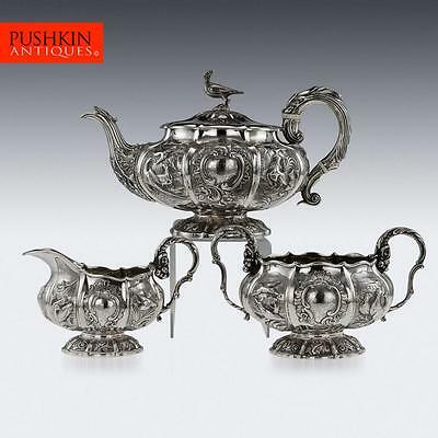 ANTIQUE 19thC REGENCY SOLID SILVER 3 PIECE PHEASANT TEA SET, LONDON c.1824