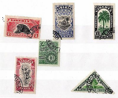 Liberia Early Collection of 6 VFU X6196