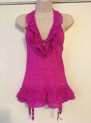 victoria secret lingerie med The Lacie Hot Pink   Teddie Nightie With Ruffle Top