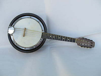 Antique Closed Back 8 String Mandolin-Banjo 'Huis Musika Antwerp' with Soft Case