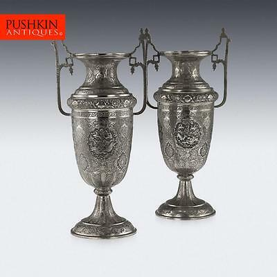 ANTIQUE 20thC PERSIAN SOLID SILVER LARGE PAIR OF VASES, ISFAHAN c.1920