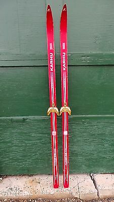 """OLD Interesting Vintage Wooden 66"""" Long Skis Has Old RED Finish"""