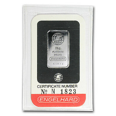 2.5 gram Engelhard Platinum Bar - In Assay - SKU #74049