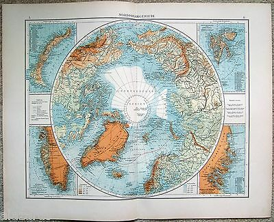 Original 1903 German Map of the North Polar Region. Arctic. North Pole