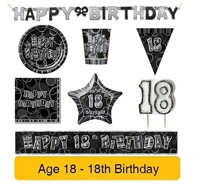 AGE 18 - 18th Birthday BLACK & SILVER GLITZ - Party Banners Balloons&Decorations